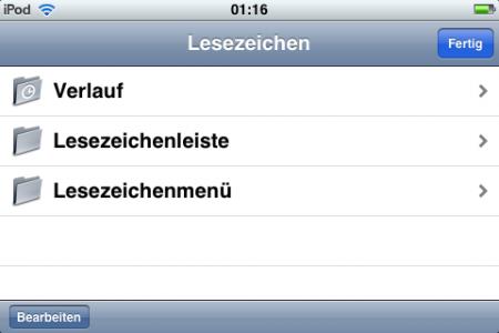 Safari-Lesezeichen auf dem iPod Touch (Screenshot)