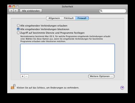Firewall-Konfiguration von Mac OS X «Leopard»