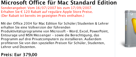 Microsoft Office 2004 im Apple Store
