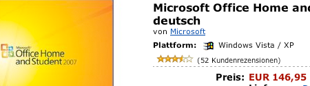 Microsoft Office 2007 bei Amazon.de