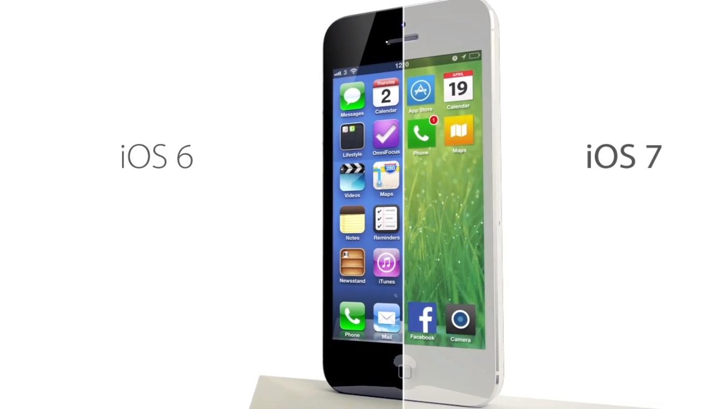Darstellung iOS 6 und iOS 7 - Designänderung